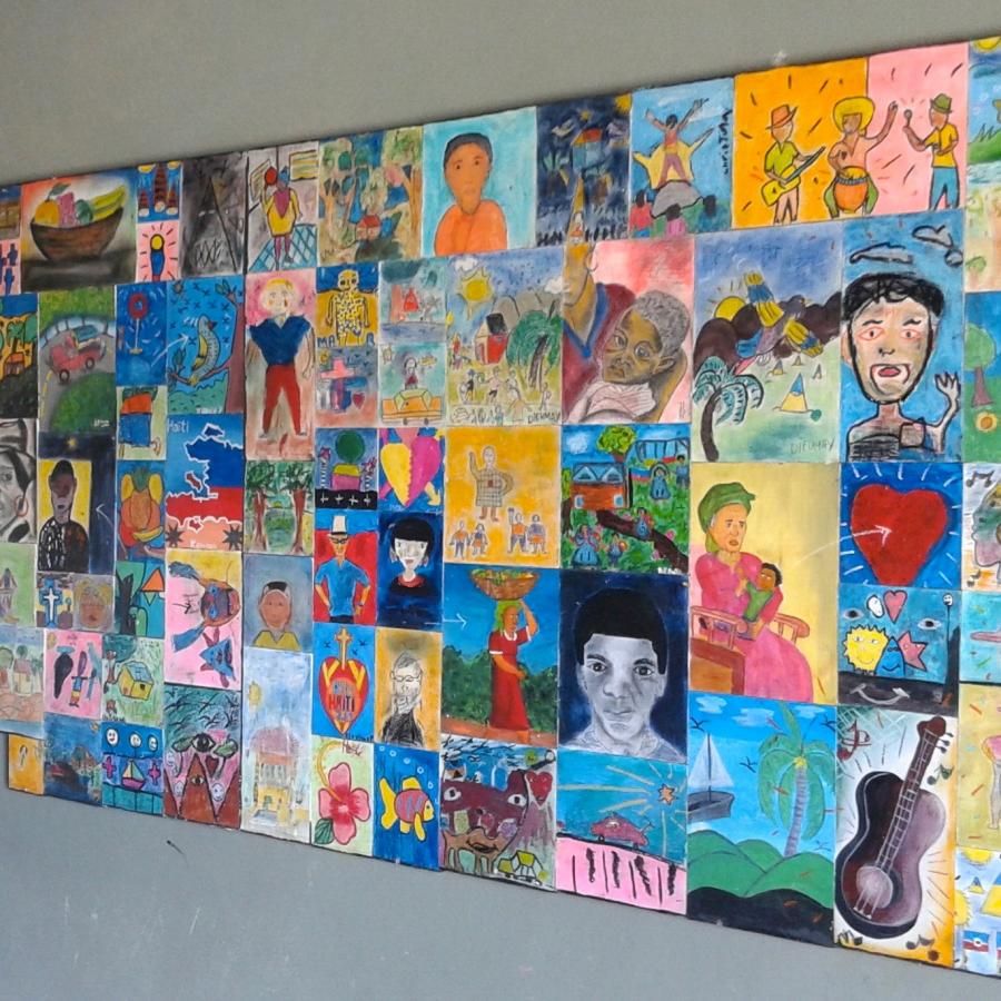 Fresque murale réalisée par les enfants